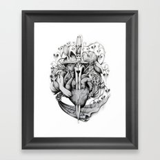 Rabbits and Hearts Framed Art Print