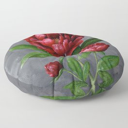 Red Peony Flower Painting Floor Pillow