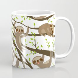 funny and cute smiling Three-toed sloth on green branch tree creeper Coffee Mug