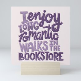 Book Nerd - Romantic Bookstore Purple Mini Art Print