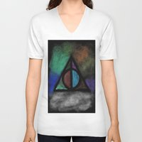 deathly hallows V-neck T-shirts featuring Deathly Hallows - Dark! by Ria-Ra