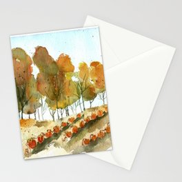 Autumn Trees and Pumpkin Patch Watercolor Stationery Cards