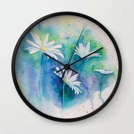 Spring watercolor daisies painting Wall Clock