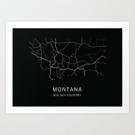 Montana State Road Map Art Print