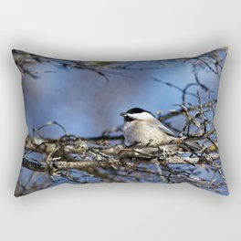 Black-capped Chickadee Holding a Seed Rectangular Pillow