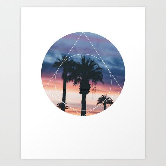 Sunset Palms - Geometric Photography Art Print