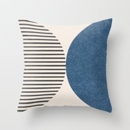Semicircle Stripes - Blue Throw Pillow