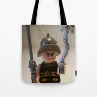 gladiator Tote Bags featuring Gladiator 'Cracalla the Gladiator' LEGO Custom Minifigure by Chillee Wilson by Chillee Wilson [Customize My Minifig]