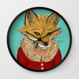 Sophisticated Fox Art Print Wall Clock