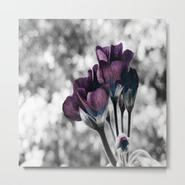 Pop of Color Flowers Muted Eggplant Teal Metal Print