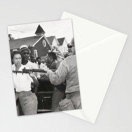 Gloria Richardson pushing a National Guardsman's bayonet, 1963 Stationery Cards