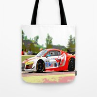 audi Tote Bags featuring Flying Lizard Audi R8 | Road America by Phil Schroeder Design