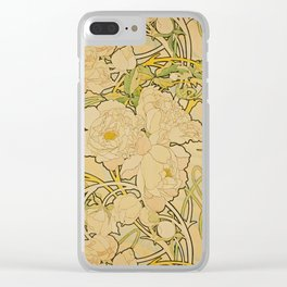 Alphonse Mucha - Peonies Clear iPhone Case