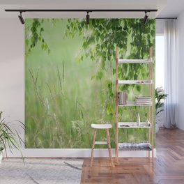 #nature #Birch #leaves with #Green #Grass #beautiful #homedecors Wall Mural