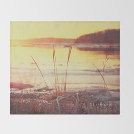 Winter Sunset on the River Throw Blanket
