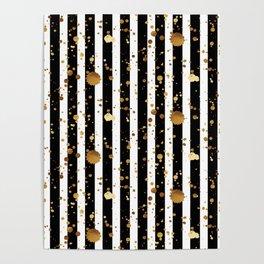 Stripes & Gold Splatter Poster