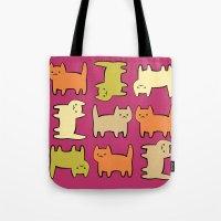 cartoon Tote Bags featuring Cartoon Kitties by Irina  Romanovsky