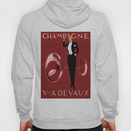 Vintage Champagne Red Veuve A. Devaux, Paris, France Jazz Age Roaring Twenties Advertisement Poster Hoody