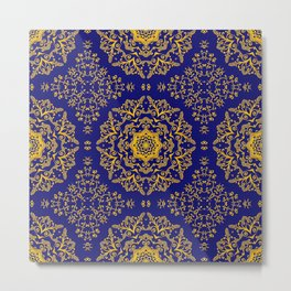 golden mandala pattern on the dark blue background Metal Print