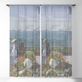 Claude Monet - Jardin à Sainte-Adresse Sheer Curtain
