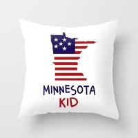 minnesota Throw Pillows featuring Minnesota Kid by raineon