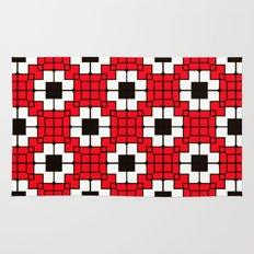 Retro Mosaic Red & Black Rug