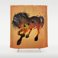 horse Shower Curtains featuring Horse by nicky2342