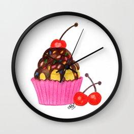 Cherry cupcake Wall Clock