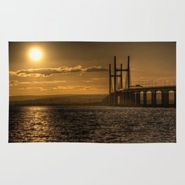 Severn Bridge Sunset  Rug