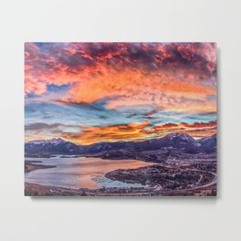 Sunset Pano // Beautiful Rocky Mountain Lake View Colorado Red Orange Sky Metal Print