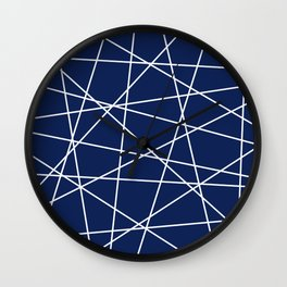 Geometric Lines (white/navy blue) Wall Clock