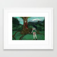 inuyasha Framed Art Prints featuring Inuyasha and Kagome by Creativelea