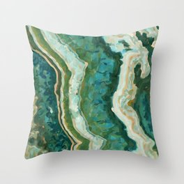 Blue Green Onyx Marble Abstract Vector Art Throw Pillow
