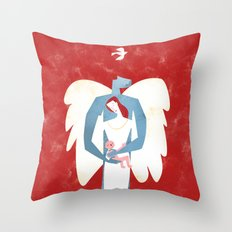 The New Christmas Family in Red Throw Pillow