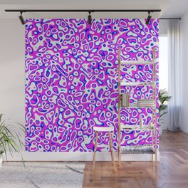 Abstract fractal blue pink marbleized psychedelic plasma Wall Mural