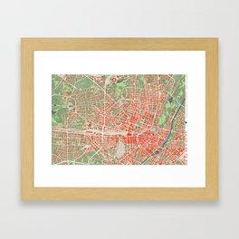 Munich city map classic Framed Art Print