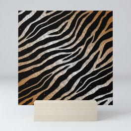 Ripped SpaceTime Stripes - Bronze/White Mini Art Print