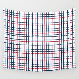 4th of July Skinny Gingham Wall Tapestry