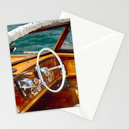 Classic Motorboat, Lake Como, Italy Stationery Cards