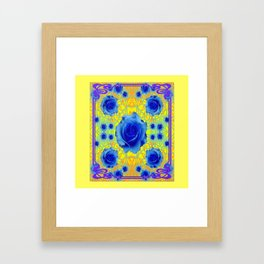 Yellow Gold Art Noveau Blue Roses Art Framed Art Print