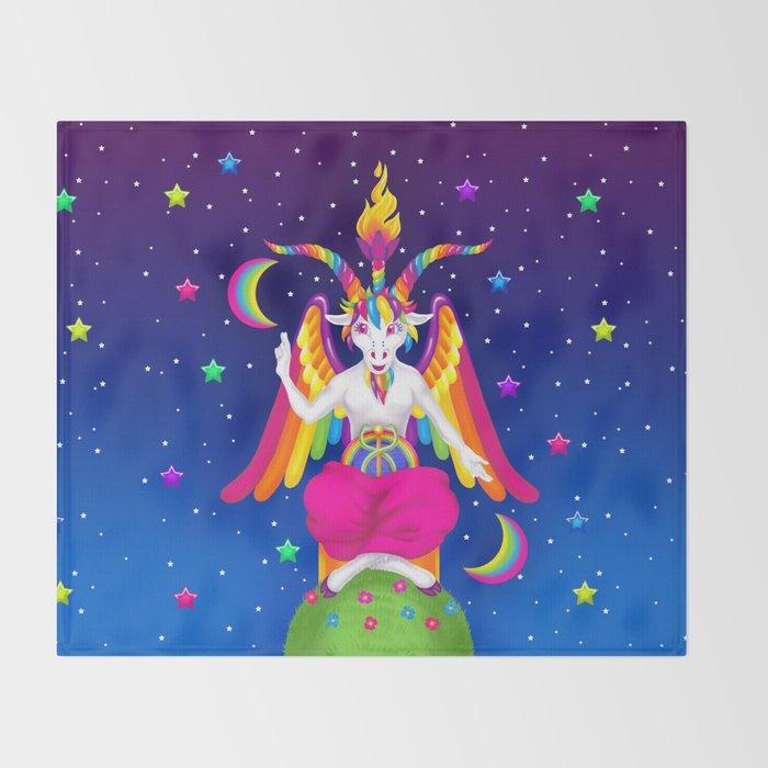 1997 Neon Rainbow Baphomet Throw Blanket