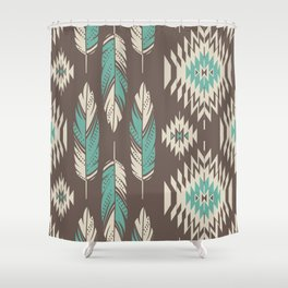 Native Roots - Turquoise & Brown Shower Curtain