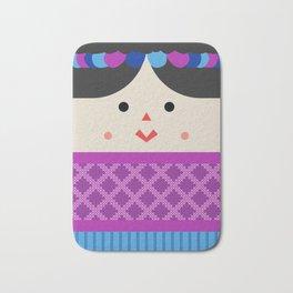 Muñeca de Trapo (Mexican Cloth Doll) Square Friends (Pink and Blue) Bath Mat