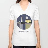 washington V-neck T-shirts featuring Washington D.C by uzualsunday