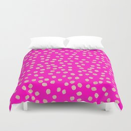 Modern rose gold glitter polka dots neon pink attern Duvet Cover