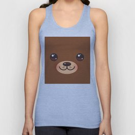 Cute Cartoon Kawaii funny brown bear muzzle with pink cheeks and big eyes Unisex Tank Top