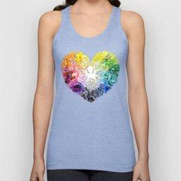 Rainbow Spectrum Heart transparent Unisex Tank Top