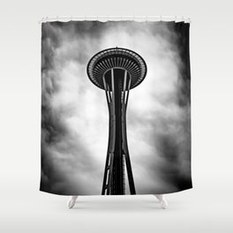 Space Needle Black and white Shower Curtain