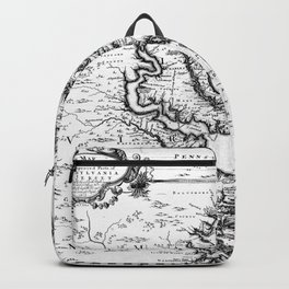 Vintage Map of The Chesapeake Bay (1719) BW Backpack