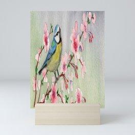 Blue Tit Bird On Cherry Blossom Tree Watercolour Mini Art Print